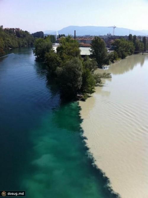 Место слияния рек Рона и Арв в Женеве