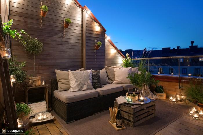 Мансардная квартира с уютным балконом в Швеции